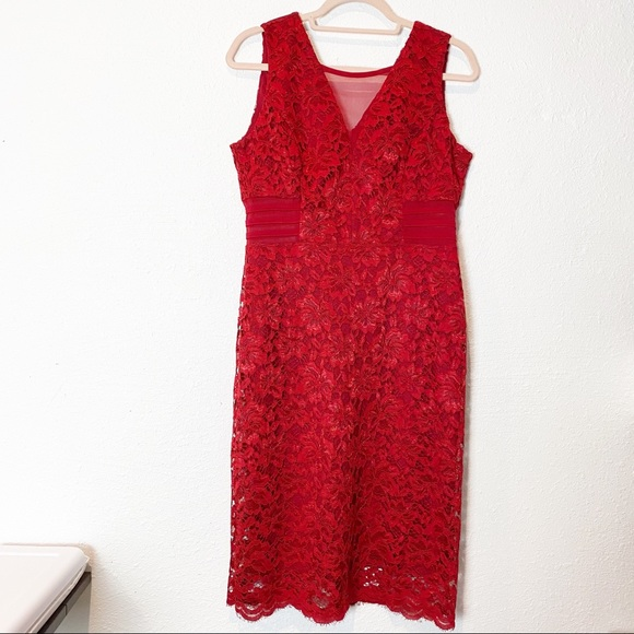 Free People Red Lace Sleeveless Dress Size L NWOT